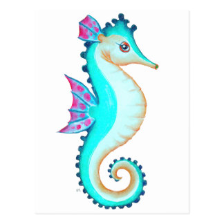 Seahorse Turquoise Postcard