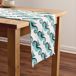 seahorse turquoise short table runner