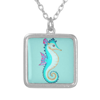 Seahorse Turquoise Silver Plated Necklace