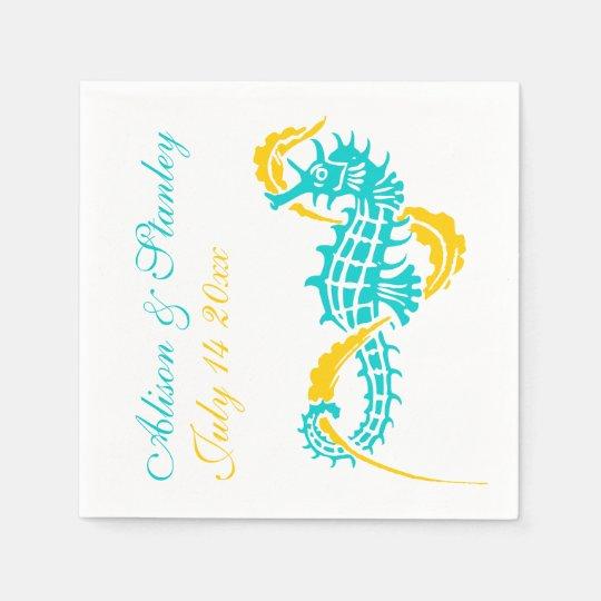 Seahorse turquoise, yellow beach wedding paper napkin