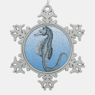 seahorse vintage bubbles pewter snowflake ornament