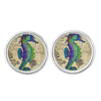 Seahorse Vintage Comic Map Cuff Links