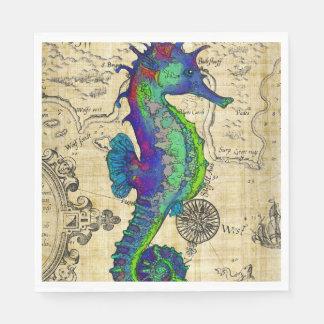 Seahorse Vintage Comic Map Disposable Napkins