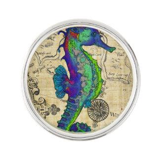 Seahorse Vintage Comic Map Lapel Pin