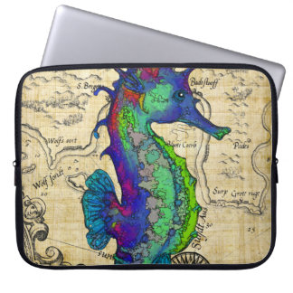 Seahorse Vintage Comic Map Laptop Sleeve