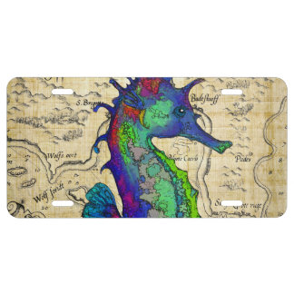 Seahorse Vintage Comic Map License Plate