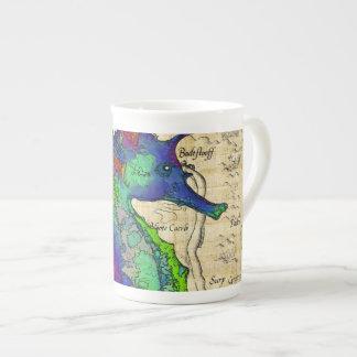 Seahorse Vintage Comic Map Tea Cup