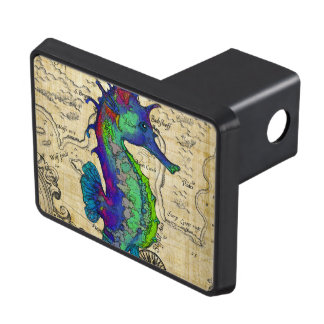 Seahorse Vintage Comic Map Trailer Hitch Cover