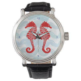 Seahorse Watch with Black Leather Strap