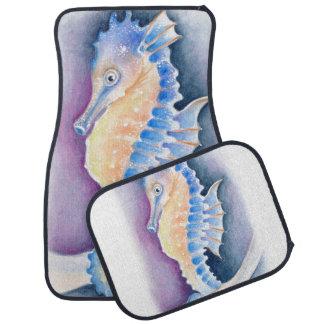 Seahorse Watercolor Art Car Mat