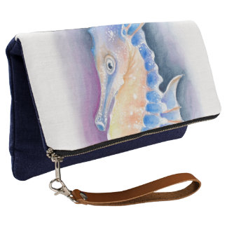 Seahorse Watercolor Art Clutch