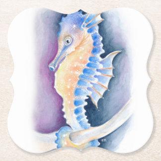 Seahorse Watercolor Art Paper Coaster