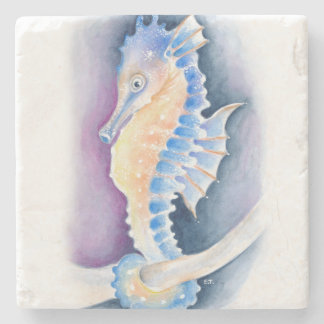 Seahorse Watercolor Art Stone Coaster