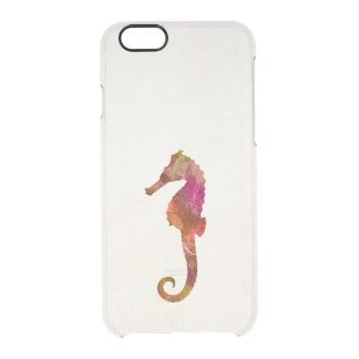 Seahorse Watercolor Silhouette Sea Horse Pink Clear iPhone 6/6S Case