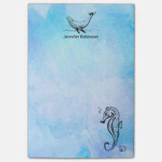 Seahorse, Whale and Seashell on Blue Watercolor Post-it® Notes