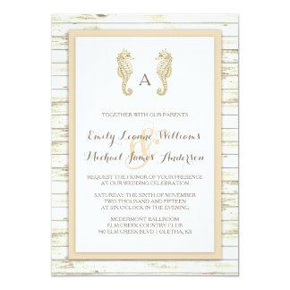 Seahorse Whitewashed Wood Beach Wedding Invitation