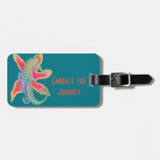 seahorses and starfish luggage tag