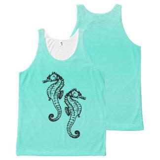 Seahorses Aqua All-Over-Print Tank Top