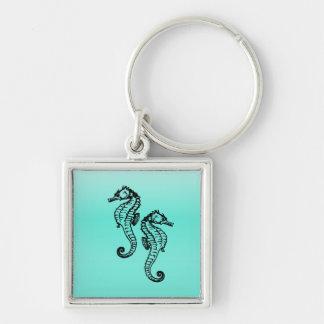 Seahorses Aqua Keychain