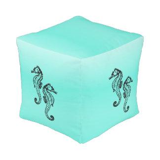 Seahorses Aqua Pouf