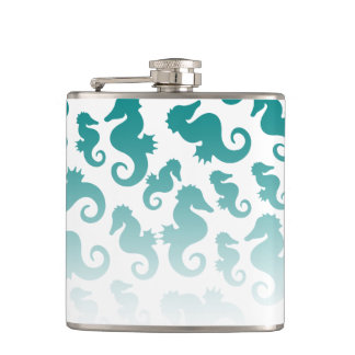 Seahorses aqua/teal pattern custom background hip flask