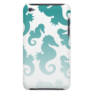 Seahorses aqua/teal pattern custom background iPod Case-Mate cases