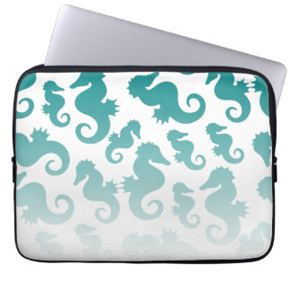 Seahorses aqua/teal pattern custom background laptop sleeve
