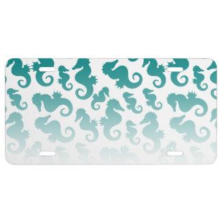 Seahorses aqua/teal pattern custom background license plate