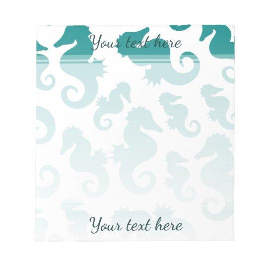 Seahorses aqua/teal pattern custom background notepad
