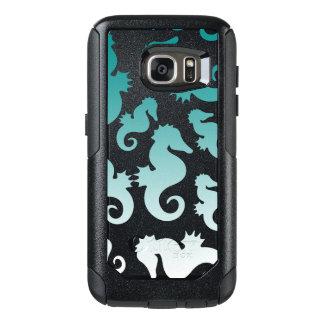 Seahorses aqua/teal pattern custom background OtterBox samsung galaxy s7 case