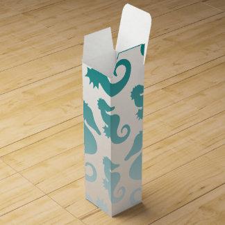Seahorses aqua/teal pattern custom background wine box