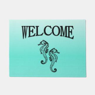 Seahorses Aqua Welcome Doormat