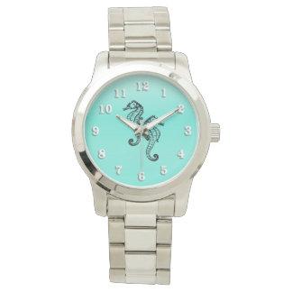 Seahorses Aqua Wrist Watches
