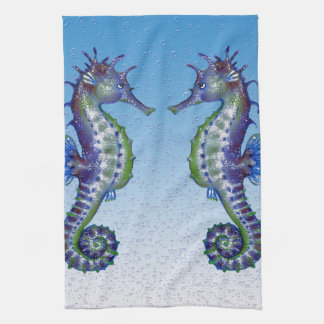 seahorses blue drops kitchen towel
