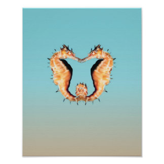 Seahorses Courting Poster