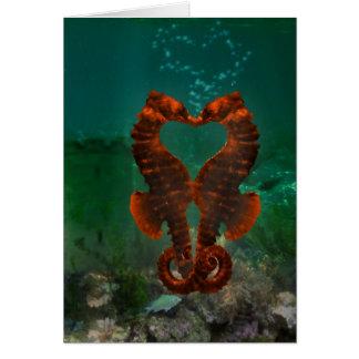Seahorses kissing card