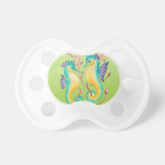 seahorses lime stained glass pacifiers