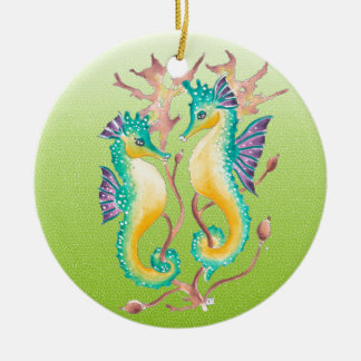 seahorses lime stained glass round ceramic ornament