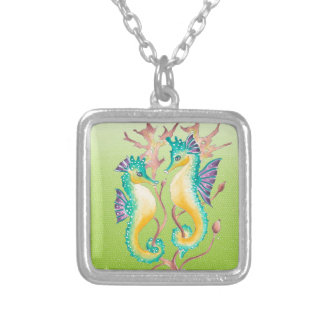 seahorses lime stained glass silver plated necklace