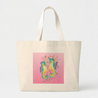 seahorses pink stained glass large tote bag