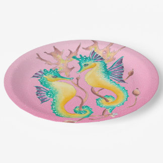 seahorses pink stained glass paper plate