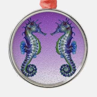 seahorses purple Silver-Colored round ornament