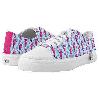 Seahorses Riding Ocean Waves Low-Top Sneakers