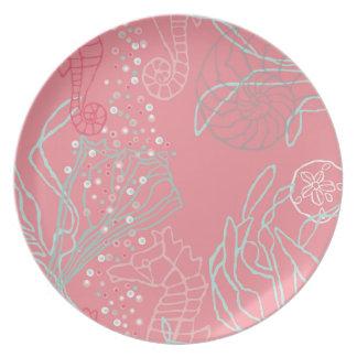 Seahorses & Seashells in Pink Tones Plate