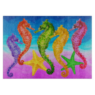 "Seahorses & Starfish - 11"" x 8"" Cutting Board"
