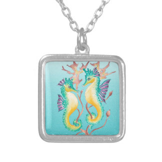 seahorses teal stainglass silver plated necklace