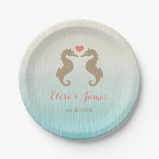 Seahorses With Custom Names And Date Wedding Paper Plate
