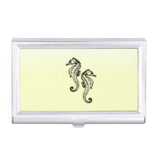 Seahorses Yellow Business Card Holder