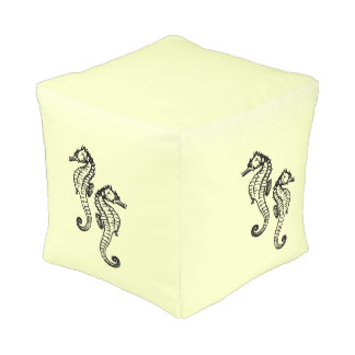 Seahorses Yellow Pouf