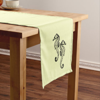 Seahorses Yellow Short Table Runner